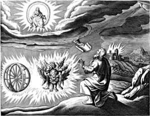 Copy of Matthäus Merian's engraving of Ezekiel's vision (1670).