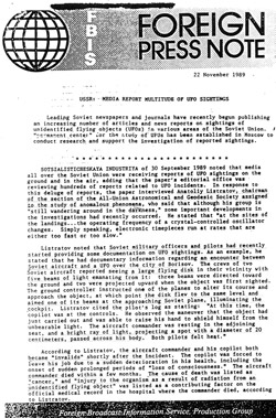 FBIS report on USSR UFO sightings.