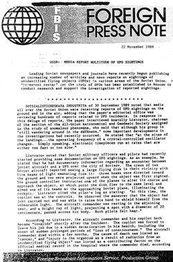 FBIS report on USSR UFO sightings.