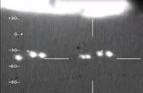 Soon after the above image was taken in the video, the first light in the second group can be seen separating into two lights as Ben predicted. (Credit: Mexican Air Force)
