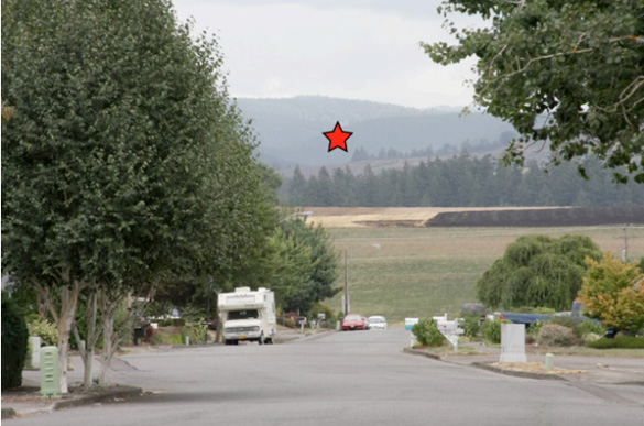 Location of the first sighting. The red star marks where Brown saw the UFO. (Credit: Keith Rowell)