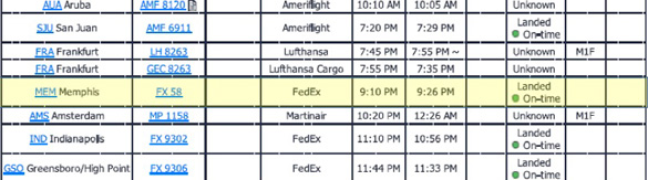Image of the flight log from the UFO reporting showing the a delayed flight at the time of the UFO event. (Credit: SCU)