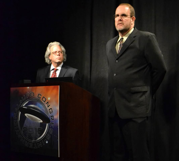 John Burroughs (right) and his lawyer Pat Frascogna presenting their case at the 2015 International UFO Congress. (Credit: Carlo Petrick)