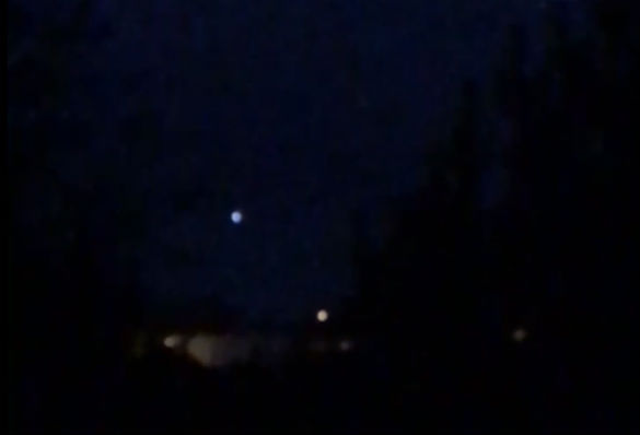 Screenshot of UFO video from Great Britain of lights in the sky. (Credit: MUFON)