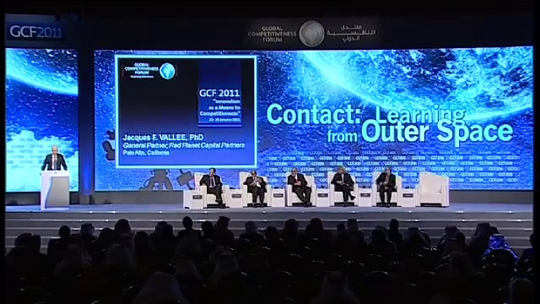 UFO forum panelists on stage in Riyadh. (image credit: GFC2011)