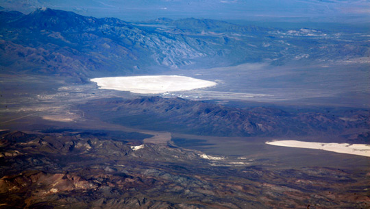 Picture of Groom lake (left) and Papoose lake (right). Papoose the aledged location of the secret S4 underground facility. (image credit: Doc Searls)