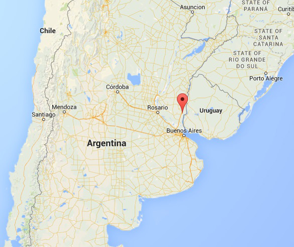 Marker shows location of Gualeguaychú, Entre Ríos, Argentina. (Credit: Google Maps)
