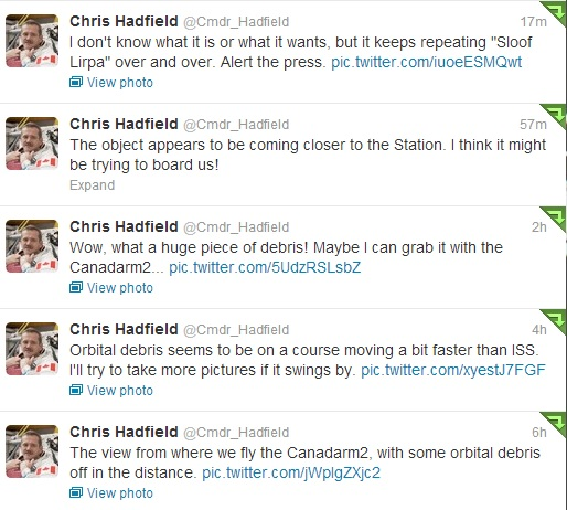 Hadfield UFO Tweets