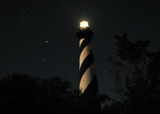 Cape Hatteras Lighthouse at night. (image credit: Cap Hatteras National Seashore)