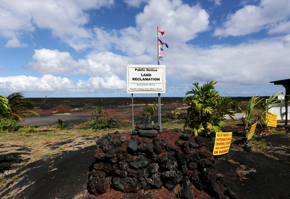 Land reclamation notice at the site of the Hawaii Star Visitor Sanctuary. This area is newly formed by lava flows. (Credit: Hawaii Tribune Herald)