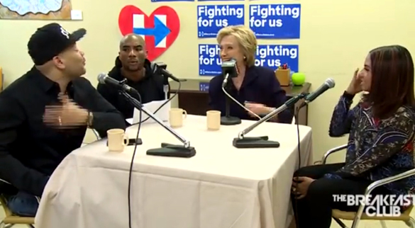 The Power 105.1 Breakfast Club talk UFOs with Hillary Clinton. From left: DJ Envy, Charlamagne tha God, Hillary Clinton and Angela Yee. (Credit: Power 105.1 Breakfast Club/YouTube)