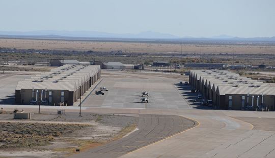 The hangars at Holloman AFB (image credit: USAF)