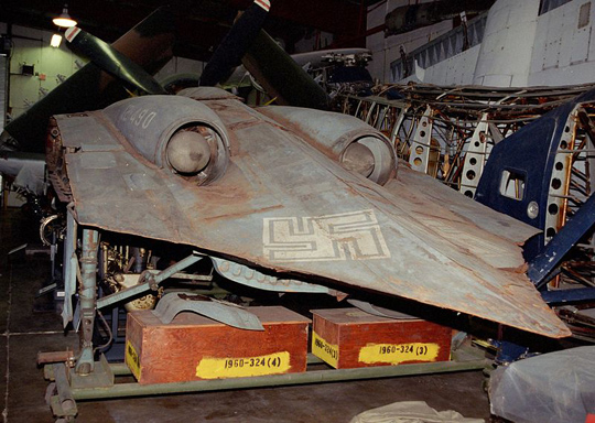 The front of a Horten Ho 229 (Horten H. IX) at the Smithsonian Institution's Garber Restoration Facility. The ony Horton wing to be recovered. (image credit: Michael Katzmann)