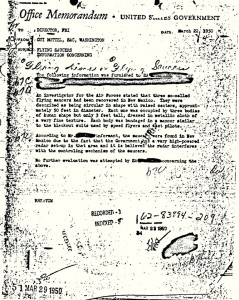 Hottel FBI UFO Memo. Click to enlarge.