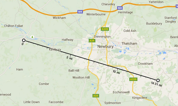 Map showing distance and direction of Ashford Hill in relation to Hungerford. Hungerford is where the ditnce line beigns. Ashford hill is at the end. (Credit: Google Maps)
