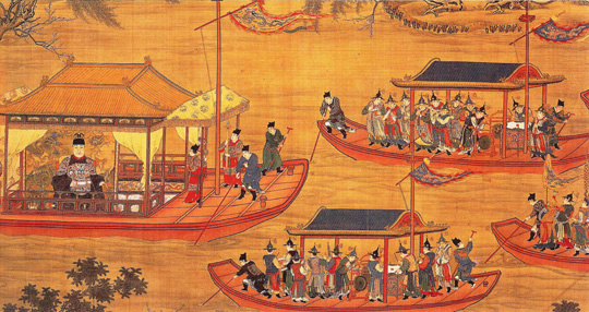 Emperor Jiajing on his state barge.