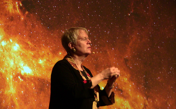 Dr. Jill Tarter speaking at the Paramount Theater in Charlottesville, Virginia. (Credit: Shepherd Johnson)