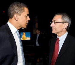 Podesta (right) with Obama.