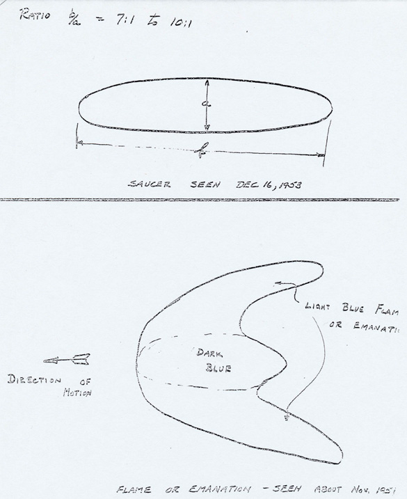 Johnson's UFO drawings. The top image is a drawing of the sighting from December 1953, the bottom is his first sighting in November 1951. (Credit: U.S. Air Force Project Blue Book)