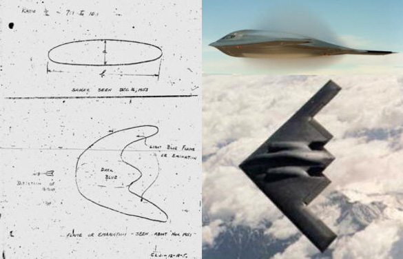 Image from the UFO Partisan website demonstrating the similarity to the UFOs Johnson saw and the stealth bomber. He questions whether Skunk Works was influenced by the sightings. (Credit: The UFO Partisan - ufopartisan.blogspot.com)