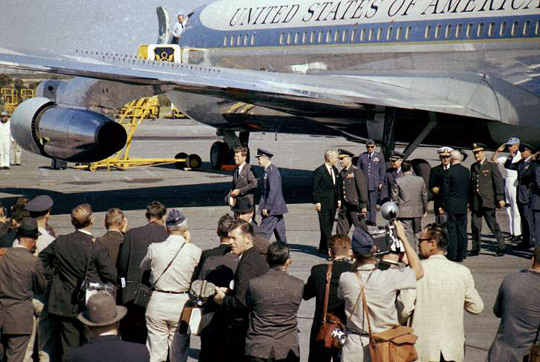 President John F. Kennedy and Air Force One at Homestead Air Force Base. (image credit: Doug Mathews/ Atterbury-Bakalar Air Museum)