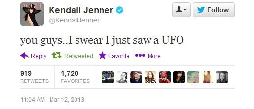 Kendall Jenner UFO Tweet 1