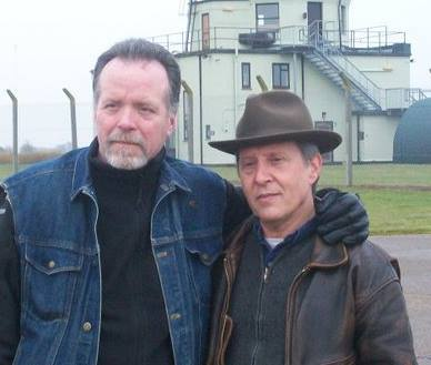 Larry Warren (left) and Peter Robbins in front of the RAF Bentwaters control tower. (Credit: Peter Robbins)