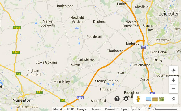 Map showing the location of Barwell, Earl Shilton, and Hickley. (Credit: Google Maps)