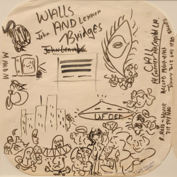 UFO side of the album sleeve doodles. (Credit: liveauctioneers.com)