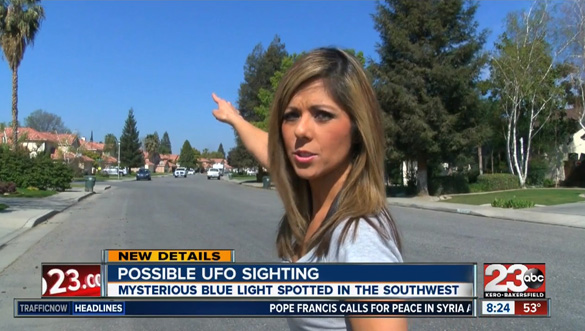 23ABC news reporter Lindsey Adams in the Bakersfield neighborhood where the UFO was spotted. (Credit: 23ABC)