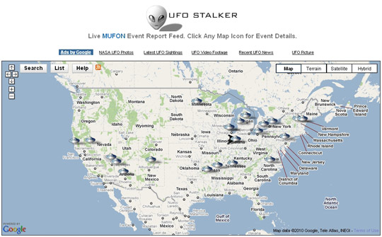 MUFON's UFO Stalker, graphical UFO report interface.