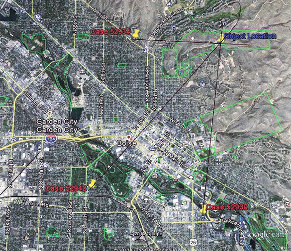 Map triangulating the position of the UFO. (Credit: MUFON/Google Maps)