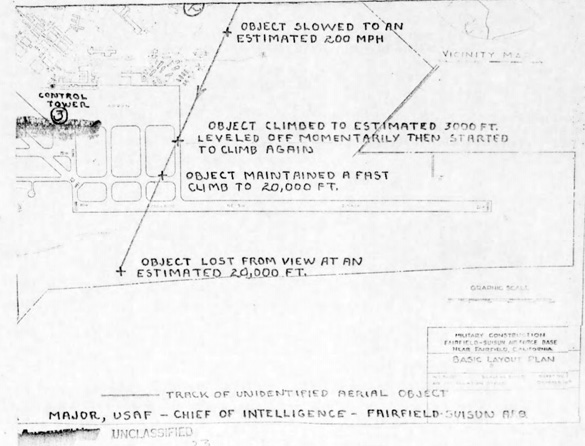 Map of Travis AFB with the track of the UFO from the Project Blue Book file. (Credit: USAF/National Archives)