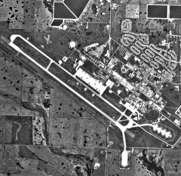Aerial view of Minot Air Force Base in 1973. (Credit: USGA)