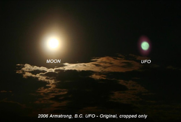 August 2006 – Photo of full moon & ? taken from inside the Armstrong crop circle. Photo: Monica Keough