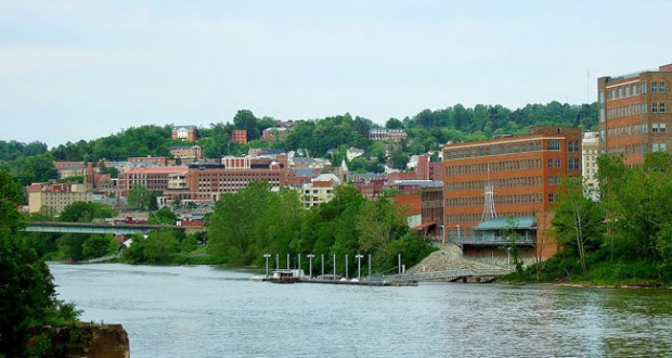 City of Morgantown from the west side of the Monongahela River. (Credit: Wikimedia Commons)