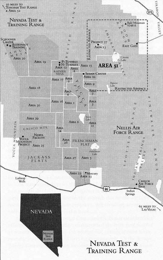 Nevada Test Range map from the National Geospatial-Intelligence Agency (NGA)