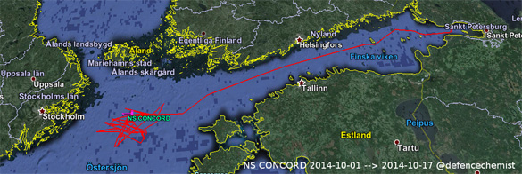 Movements of the NS Concord. (Credit: @defencechemist)