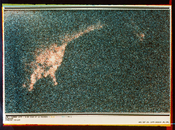 This 1975 Loch Ness photograph by Charles W. Wyckoff  was enhanced by computer at the Jet Propulsion Lab to better define object outlines. (Credit: JPL-enhanced photo courtesy of Robert Rines)