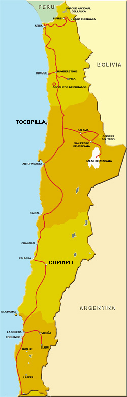 Map of northern Chile showing Tocopilla (in the upper darker area) and Copiapó, where the miners were rescued (lower yellow area). (image credit: chile-travel.com)