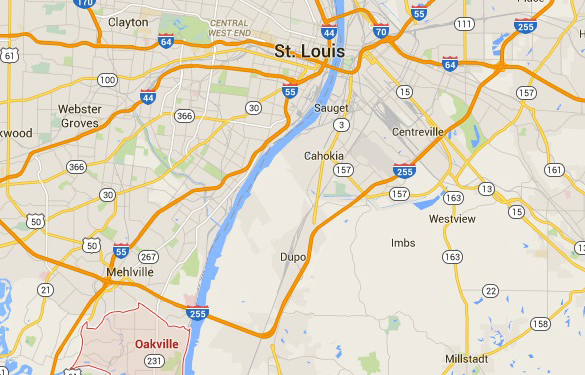 Map of St. Louis in relation to Oakville. (Credit: Google Maps)