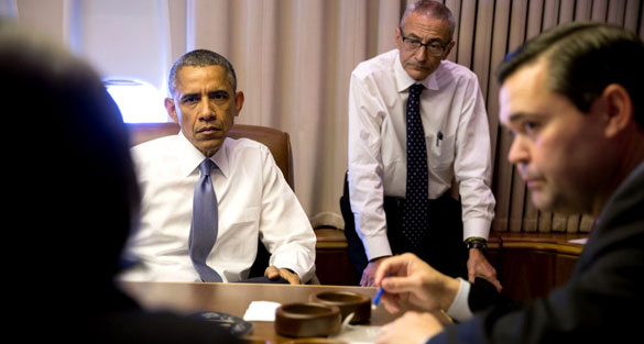 John Podesta with President Obama. (Credit: White House/Pete Souza)