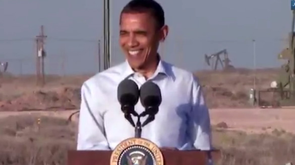 Obama addressing the crowd in Roswell.