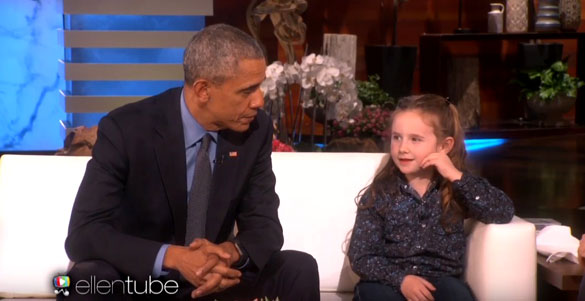 Macey Hensley asks President Obama about aliens on The Ellen DeGeneres Show. (Credit: The Ellen DeGeneres Show)