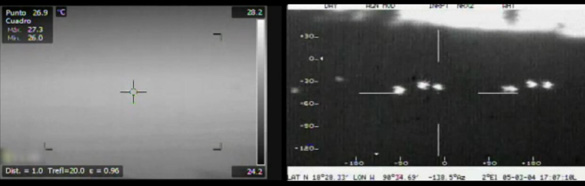 The image on the left was captured using the FLIR system by the Chasing UFOs crew. The image on the right is of the same area form the Mexican Air Force. (Credit: National Geographic)