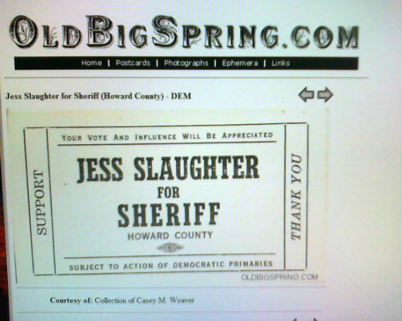 Sheriff Jess Slaughter ad campaign leaflet.