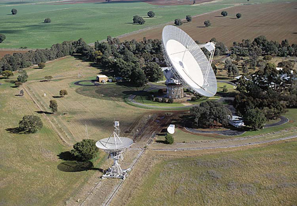 The Parkes radio telescope in Australia. All but one of the 11 FRB signals was recorded using this telescope.