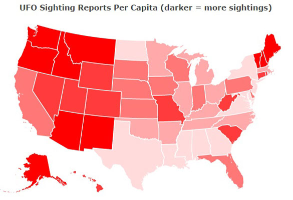 A screenshot of the UFO sightings per capita map. Click the image to see the interactive version. (Credit: Max Galka/Metrocosm.com)