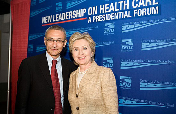 John Podesta with Hillary Clinton in 2007. (Credit: Flickr/Center for American Progress Action Fund)