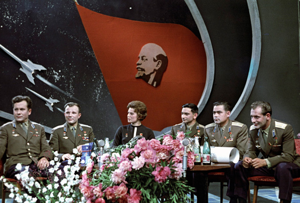 Pavel Popovich, Yuri Gagarin, Valentina Tereshkova, Valery Bykovsky, Andriyan Nikolayev and Gherman Titov at a TV studio (1963).